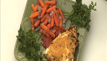 Grilled Stuffed Halibut Fillets and Grilled Carrots with Thyme and Onion